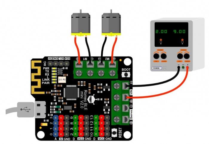 Romeo BLE mini(V2.0)硬件连接图